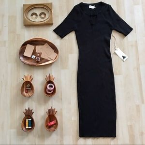 Dreamers ribbed black sweater dress bodycon S/M